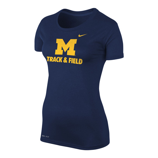Nike University of Michigan Track and Field Women's Navy Dri-FIT Legend Tee