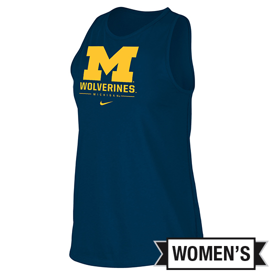 Nike University of Michigan Women's Navy Dri-FIT Cotton Tomboy Tank Top