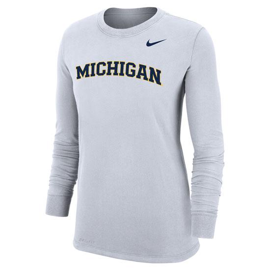 Nike University of Michigan Women's White Long Sleeve Dri-FIT Cotton Basic Tee