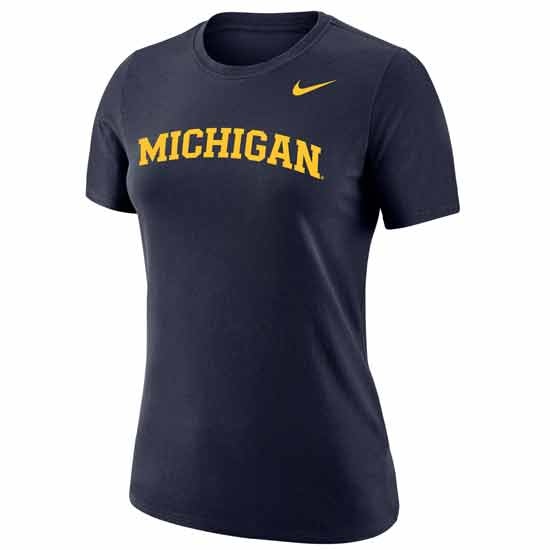 Nike University of Michigan Women's Dri-FIT Cotton Navy Basic Tee