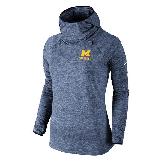 Nike University of Michigan Softball Women's Heather Navy Dri-FIT Element Funnel Hooded Sweatshirt