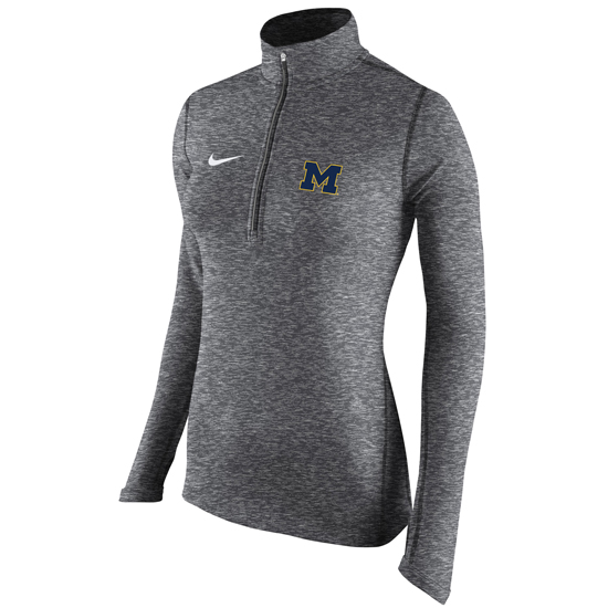 Nike University of Michigan Women's Carbon Heather Gray Dri-FIT Element 1/2 Zip Pullover Top