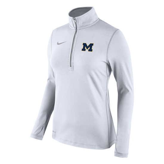 Nike University of Michigan Women's White Tailgate Element 1/2 Zip Pullover