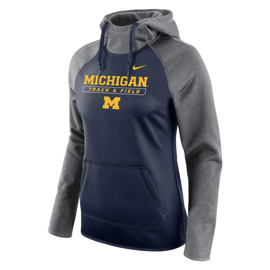 Nike University of Michigan Track & Field Women's Navy All-Time Therma-FIT Hooded Sweatshirt