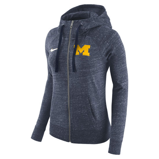 Nike University of Michigan Women's Heather Navy Gym Vintage Full Zip Hooded Sweatshirt