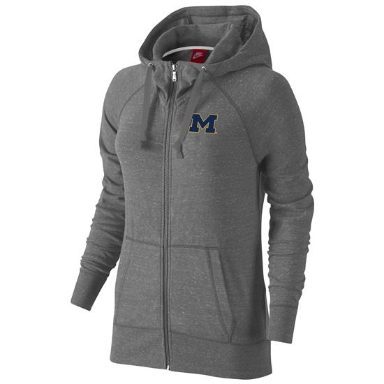 Nike University of Michigan Women's Carbon Heather Gray Gym Vintage Full Zip Hooded Sweatshirt