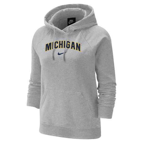 Nike University of Michigan Women's Gray Varsity Pullover Hooded Sweatshirt