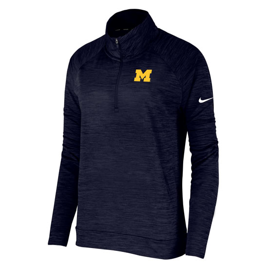 Nike University of Michigan Women's Heather Navy Pacer Dri-FIT 1/4 Zip Pullover