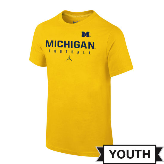 Jordan University of Michigan Football Youth Yellow Practice Tee