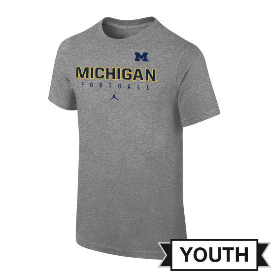 Jordan University of Michigan Football Youth Gray Practice Tee