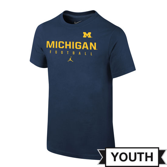Jordan University of Michigan Football Youth Navy Practice Tee