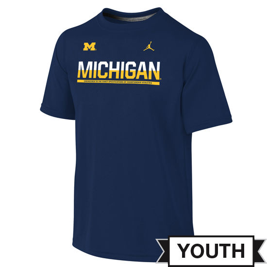 Jordan University of Michigan Football Youth Navy Dri-FIT Legend Staff Tee