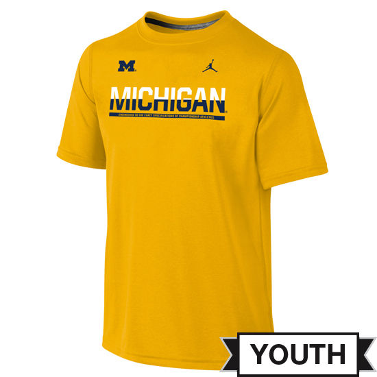 Jordan University of Michigan Football Youth Yellow Dri-FIT Legend Staff Tee