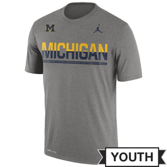 Jordan University of Michigan Football Youth Gray Dri-FIT Legend Staff Tee