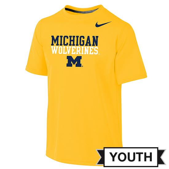 Nike University of Michigan Youth Yellow Dri-FIT Stacked Logo Tee