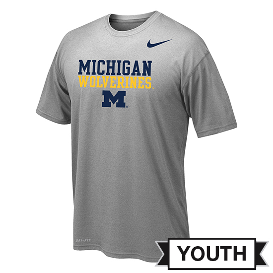 Nike University of Michigan Youth Heather Gray Dri-FIT Stacked Logo Tee
