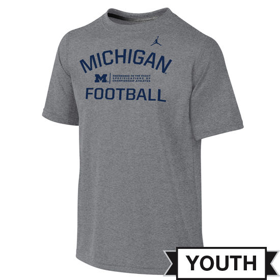 Jordan University of Michigan Football Youth Gray Dri-FIT Legend Lift Tee
