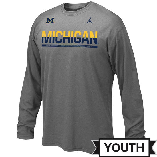 Jordan University of Michigan Football Youth Gray Long Sleeve Dri-FIT Legend Staff Tee