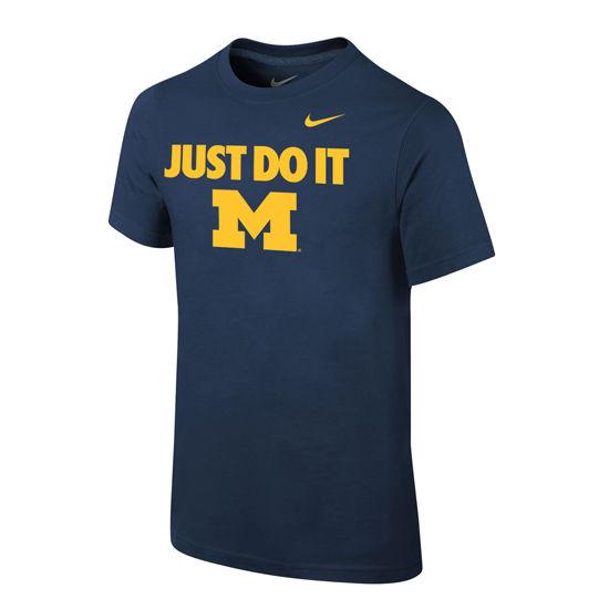 Nike University of Michigan Youth Navy Just Do It Tee
