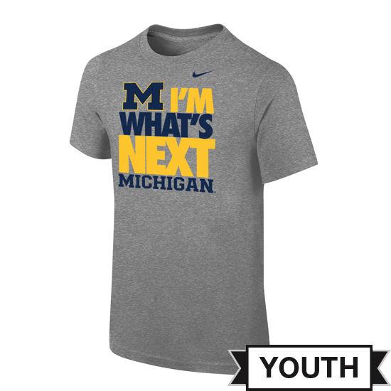 Nike University of Michigan Youth Gray I'm What's Next Tee