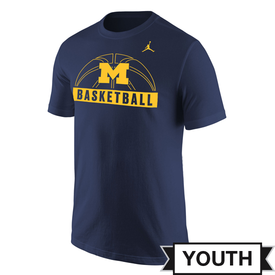 Jordan University of Michigan Basketball Youth Navy Sport Tee