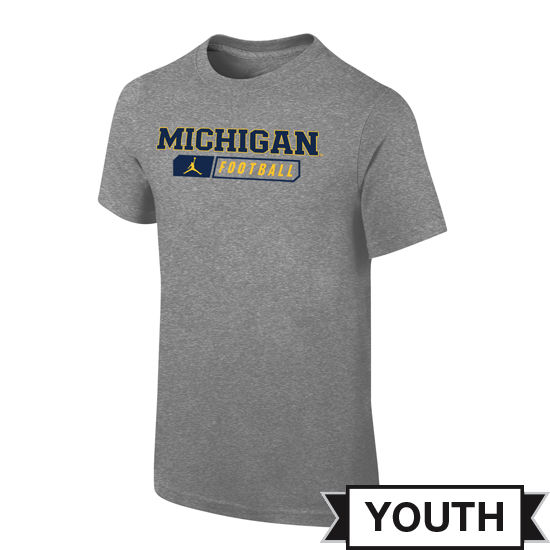 Jordan University of Michigan Football Youth Gray Sport Tee