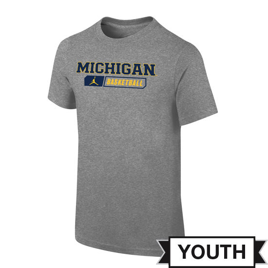 Jordan University of Michigan Basketball Youth Gray Sport Tee