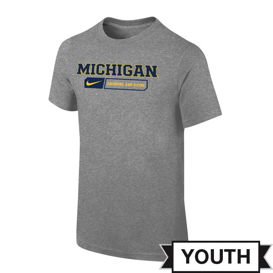 Nike University of Michigan Swimming & Diving Youth Gray Sport Tee