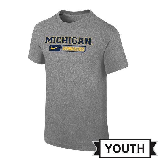 Nike University of Michigan Gymnastics Youth Gray Sport Tee