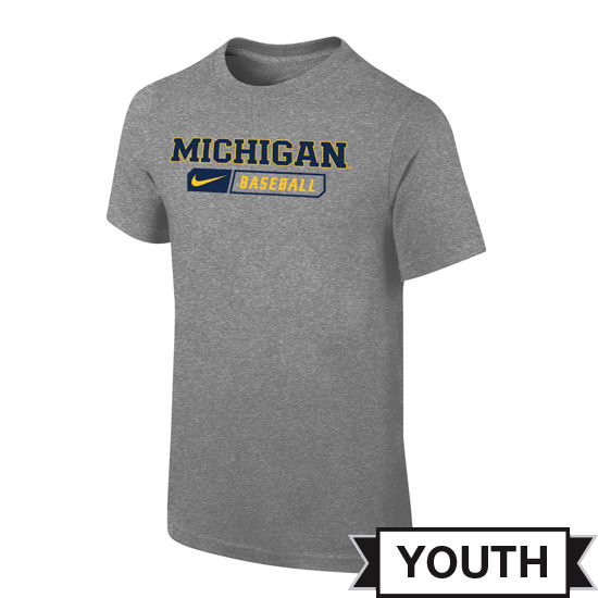 Nike University of Michigan Baseball Youth Gray Sport Tee