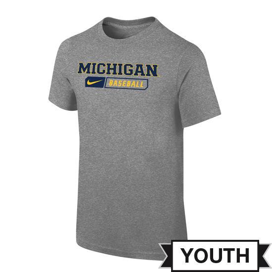 Nike University of Michigan Baseball Youth Gray Sport Tee