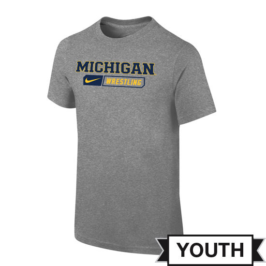 Nike University of Michigan Wrestling Youth Gray Sport Tee