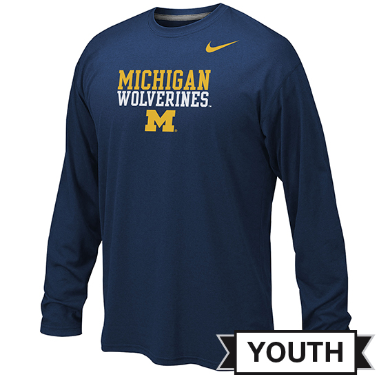 Nike University of Michigan Youth Navy Long Sleeve Dri-FIT Stacked Logo Tee