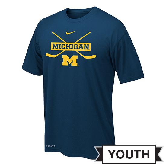 Nike University of Michigan Hockey Youth Navy Cross-Sticks Dri-FIT Legend Tee