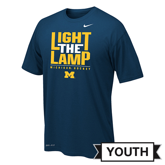 Jordan University of Michigan Hockey Youth Navy Dri-FIT Legend ''Light The Lamp'' Tee