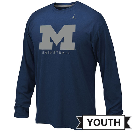 Jordan University of Michigan Basketball Youth Navy Long Sleeve Dri-FIT Legend Logo Tee