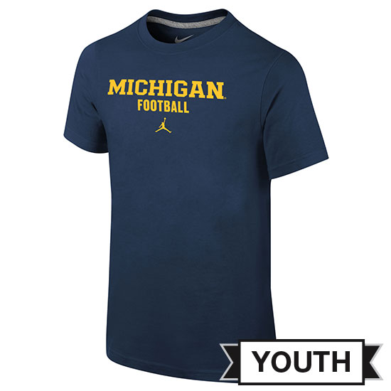 Jordan University of Michigan Football Youth Navy Basic Tee