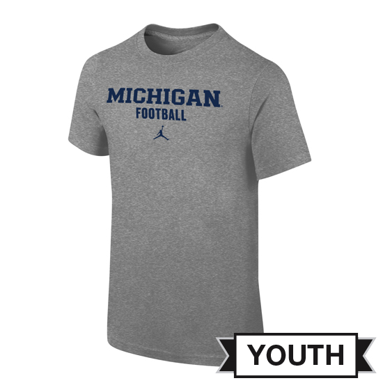 Jordan University of Michigan Football Youth Heather Gray Basic Tee