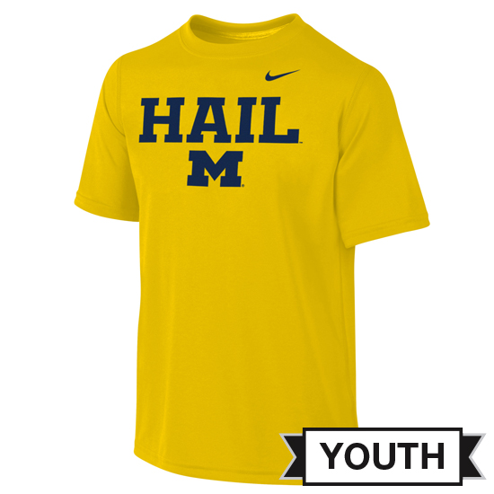 Nike University of Michigan Youth Yellow Dri-FIT Legend HAIL Tee