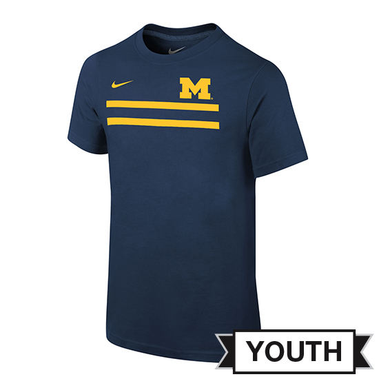 Nike University of Michigan Youth Navy Team Stripe Tee