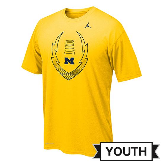 Jordan University of Michigan Football Youth Yellow Dri-FIT Legend Icon Tee