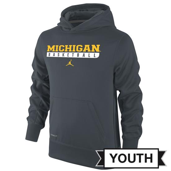 Jordan University of Michigan Basketball Youth Anthracite Hooded Sweatshirt