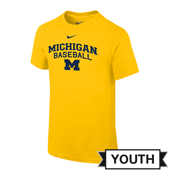 Nike University of Michigan Baseball Youth Yellow Logo Tee
