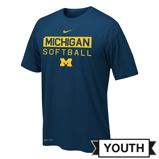Nike University of Michigan Softball Youth Navy Team Issue Dri-FIT Legend Tee