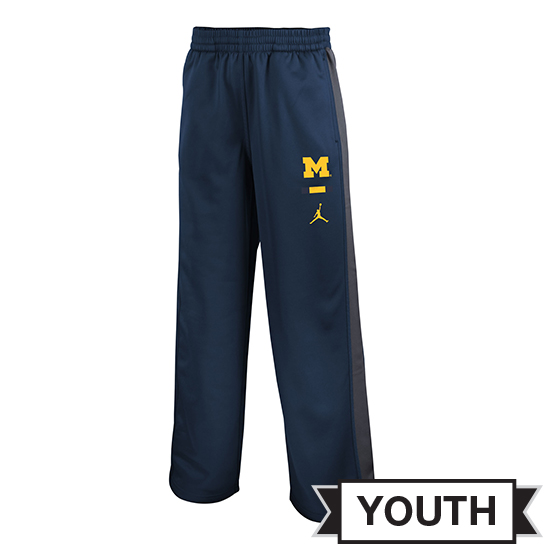 Jordan University of Michigan Football Youth Navy Colorblock DNA Therma-FIT Warm-Up Pant