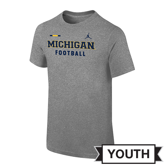 Jordan University of Michigan Football Youth Gray DNA Facility Tee