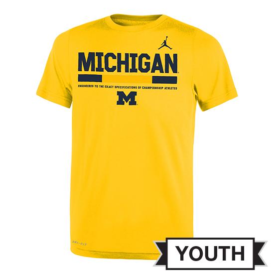 Jordan University of Michigan Football Youth Yellow Dri-Fit Legend Staff Sideline DNA Tee