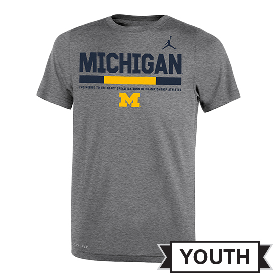 Jordan University of Michigan Football Youth Gray Dri-FIT Legend Staff Sideline DNA Tee