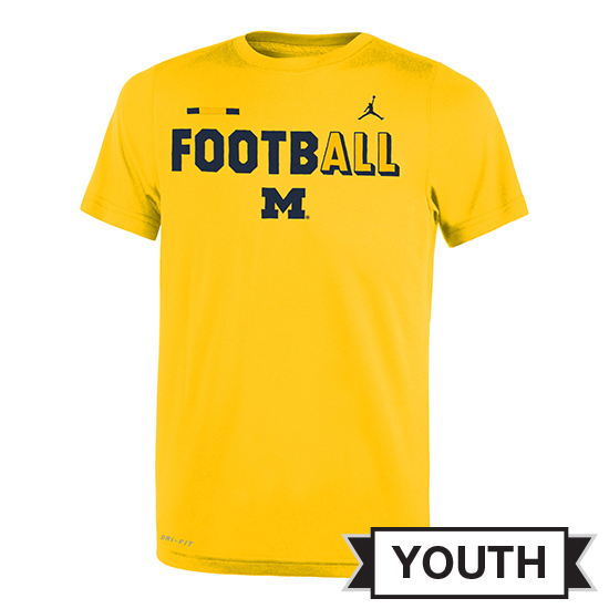 Jordan University of Michigan Football Youth Yellow FootbALL DNA Dri-FIT Legend Tee