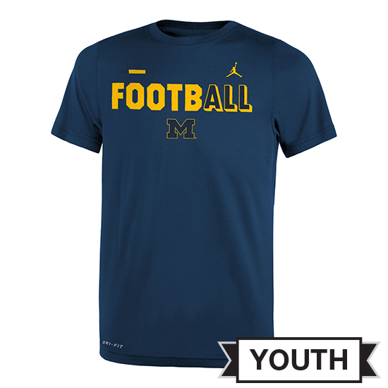 Jordan University of Michigan Football Youth Navy FootbALL DNA Dri-FIT Legend Tee